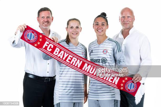 Allianz Insurance Manager Robert Spulak Laura Benkarth Manuela Zinsberger and Allianz Insurance Manager Frank Pohlmann pose during the FC Bayern...