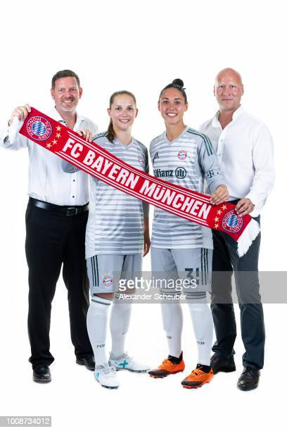 Allianz Insurance Manager Robert Spulak Laura Benkarth Manuela Zinsberger and Allianz Insurance Manager Frank Pohlmann pose during the FC Bayern...