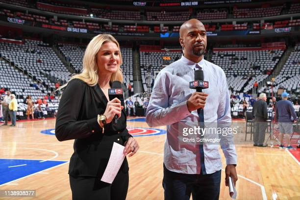 Allie Clifton and Richard Hamilton provide commentary before Game Four of Round One between the Milwaukee Bucks and the Detroit Pistons during the...