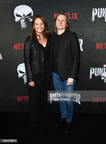 Allie Goss and Cindy Holland arrive at Marvel's 'The Punisher' Los Angeles Premiere at ArcLight Hollywood on January 14 2019 in Hollywood California