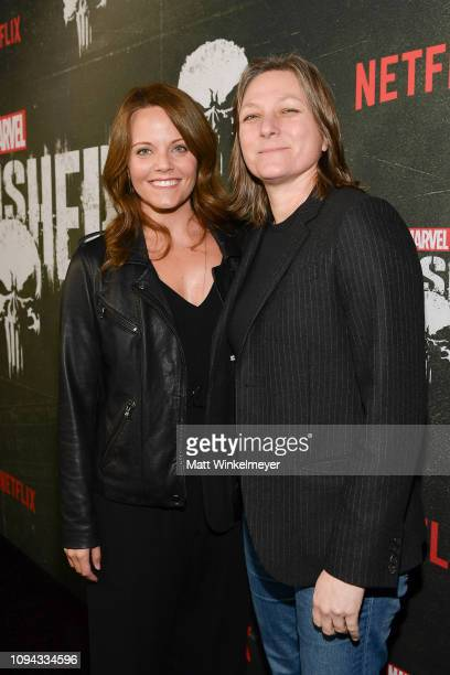 Allie Goss and Cindy Holland attend Marvel's 'The Punisher' Los Angeles Premiere at ArcLight Hollywood on January 14 2019 in Hollywood California