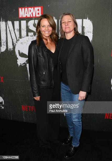 Allie Goss and Cindy Holland attend Marvel's 'The Punisher' Los Angeles premiere at the ArcLight Hollywood on January 14 2019 in Hollywood California