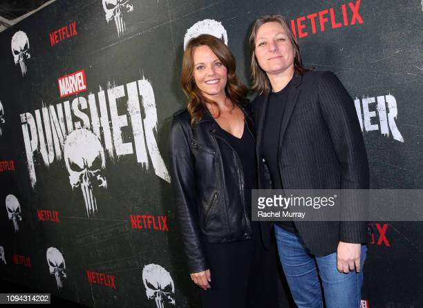 Allie Goss and Cindy Holland attend 'Marvel's The Punisher' Seasons 2 Premiere at ArcLight Hollywood on January 14 2019 in Hollywood California