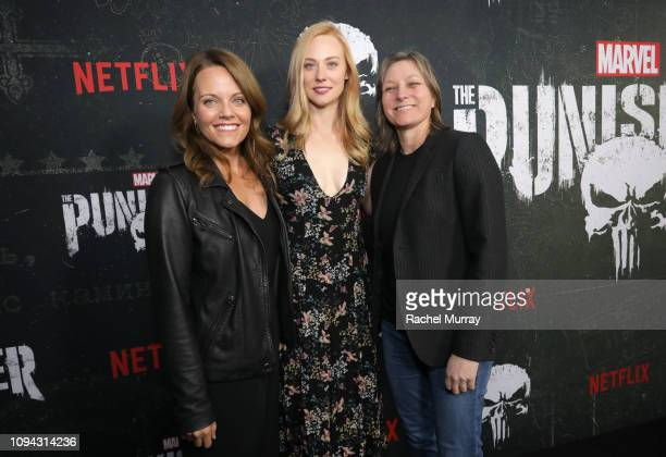 Allie Goss Deborah Ann Woll and Cindy Holland attend 'Marvel's The Punisher' Seasons 2 Premiere at ArcLight Hollywood on January 14 2019 in Hollywood...