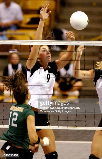 CU'S Allie Griffin jumps to block against Adeline Meira of Baylor
