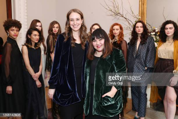 Allie Haake and Jasmine Chong pose with models after the Jasmine Chong presentation during New York Fashion Week on February 09 2020 in New York City