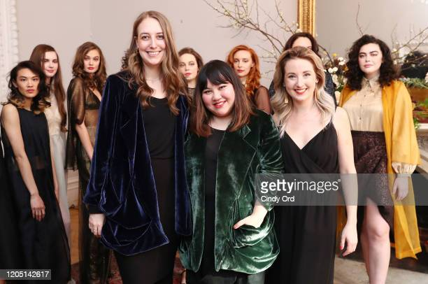 Allie Haake Jasmine Chong and Hayley Palmaer pose with models after the Jasmine Chong runway show during New York Fashion Week on February 09 2020 in...