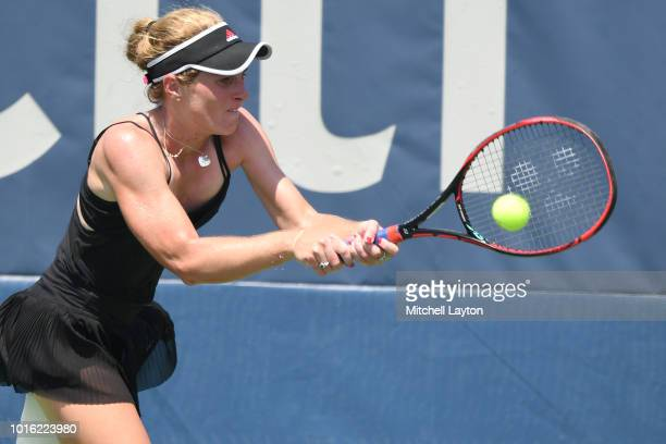 Allie Kiick of the US returns a backhand shot to Saisai Zheng of China during a quarterfinal match on Day Eight of the Citi Open at the Rock Creek...