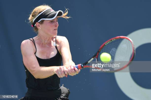 Allie Kiick of the US returns a backshot to Saisai Zheng of China during a quarterfinal match on Day Eight of the Citi Open at the Rock Creek Tennis...