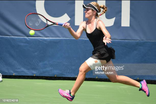 Allie Kiick of the US returns a forehand shot to Saisai Zheng of China during a quarterfinal match on Day Eight of the Citi Open at the Rock Creek...