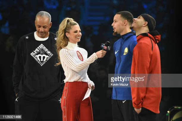 Allie LaForce interviews Seth Curry and Stephen CUrry during the 2019 State Farm AllStar Saturday Night at Spectrum Center on February 16 2019 in...