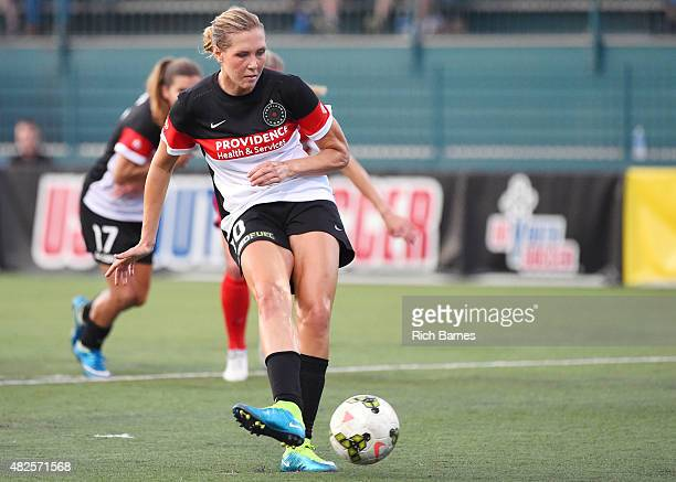 Allie Long of Portland Thorns FC takes a penalty kick that was saved by goalie Sabrina D'Angelo of the Western New York Flash during the first half...