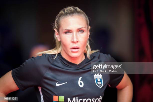 Allie Long of Seattle Reign FC walks into the stadium for the National Women's Soccer League match between Sky Blue FC and Seattle Reign FC The match...