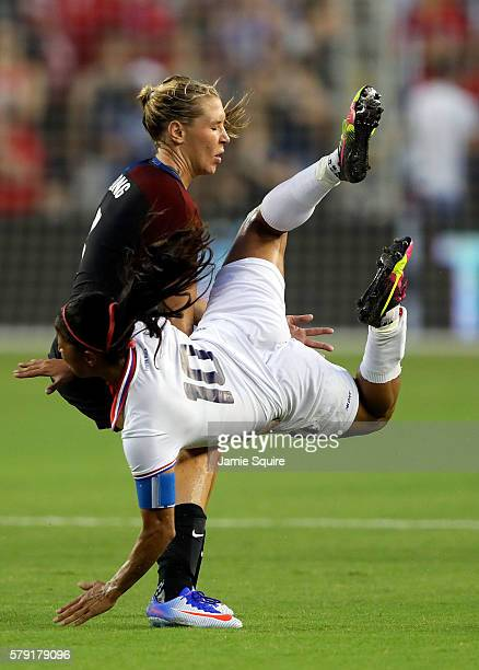 Allie Long of the United States and Shirley Cruz of Costa Rica collide during the game at Children's Mercy Park on July 22 2016 in Kansas City Kansas