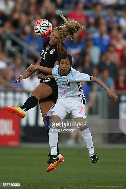 Allie Long of United States of America and Emi Nakajima of Japan battle for a head ball during an international friendly match at Dick's Sporting...