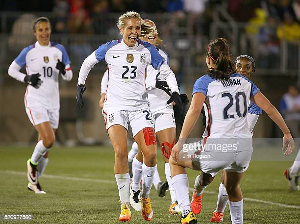 Allie Long of United States of America celebrates her goal against Columbia during an international friendly soccer match against the United States...