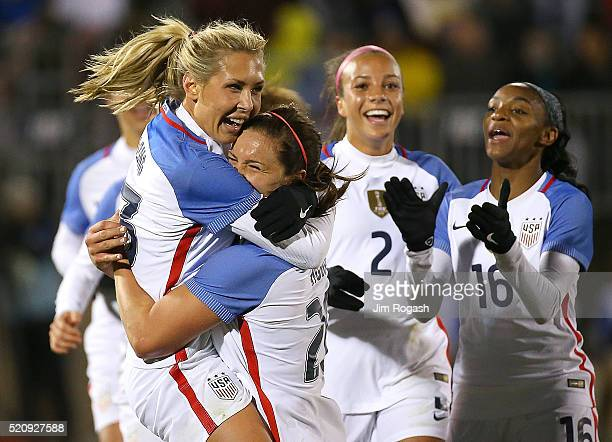 Allie Long of United States of America celebrates her goal with Lindsey Horan of United States of America against Columbia during an international...