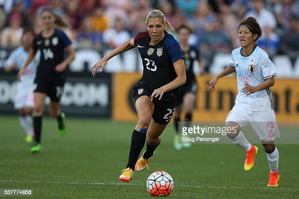 Allie Long of United States of America controls the ball against the Japan during an international friendly match at Dick's Sporting Goods Park on...
