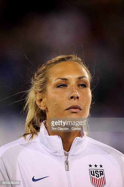 Allie Long USA during team National Anthems before the USA Vs Colombia Women's International friendly football match at the Pratt Whitney Stadium on...