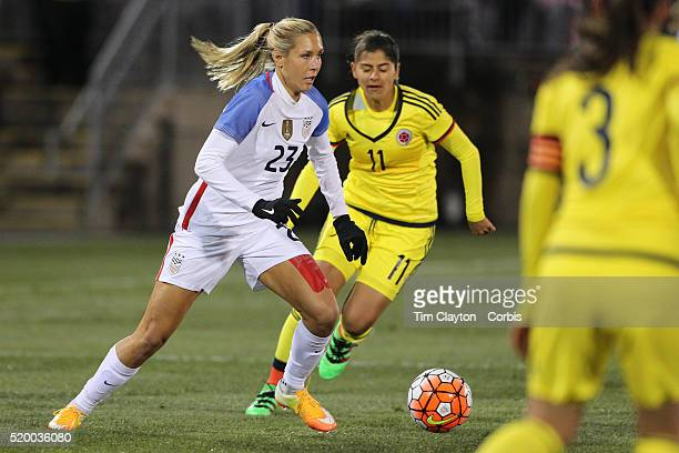 Allie Long, USA, in action during the USA Vs Colombia, Women's International friendly football match at the Pratt & Whitney Stadium on April 6, 2016...