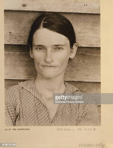Allie Mae Burroughs Wife of Cotton Sharecropper Head and Shoulders Portrait Alabama USA Walker Evans 1935