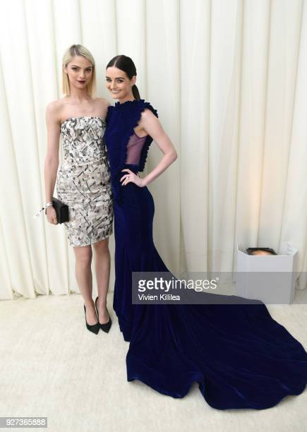Allie Marie Evans and Lydia Hearst attend the 26th annual Elton John AIDS Foundation Academy Awards Viewing Party with cocktails by Clase Azul...