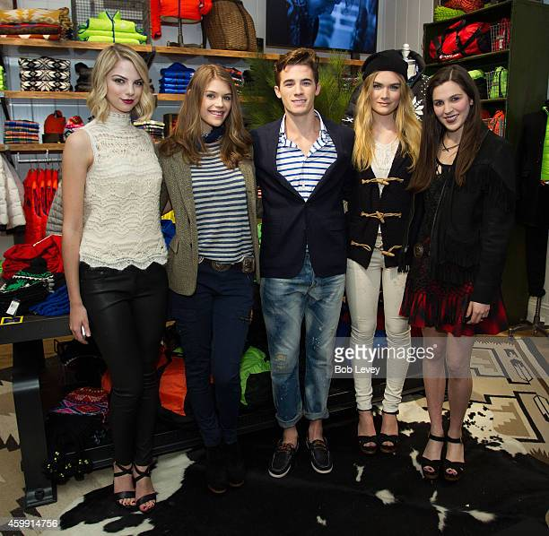 Allie Marie Evans models from Neil Hamill Agency and Teen Vogue Editor Kirby Marzec at the Teen Vogue and Polo Ralph Lauren December 2014 Houston...