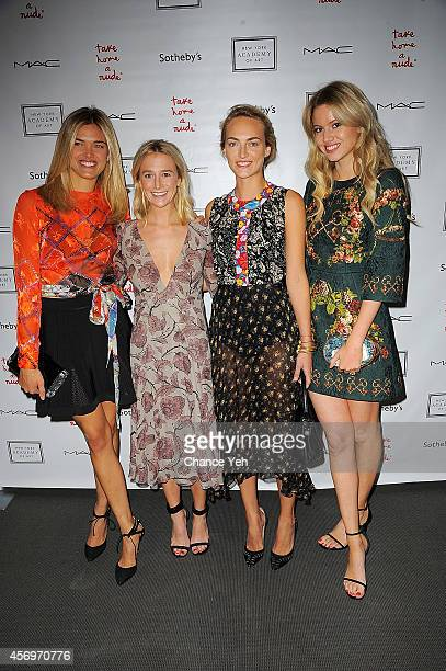 Allie Michler Grace Gibeness Grace Fuller and Mollie Ruprecht attends 2014 Take Home A Nude Event at Sotheby's on October 9 2014 in New York City