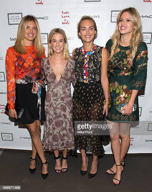 Allie Michler Grace Gibens Grace Fuller and Mollie Ruprecht attend the 2014 Take Home A Nude Event at Sotheby's on October 9 2014 in New York City