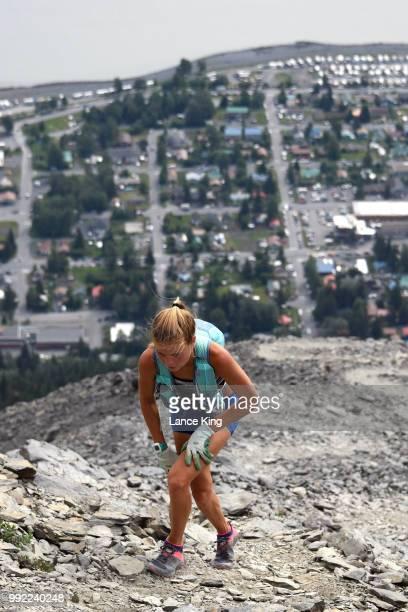 Allie Ostrander hikes toward the top of Mount Marathon during the 91st Running of the Mount Marathon Race at Mount Marathon on July 4 2018 in Seward...