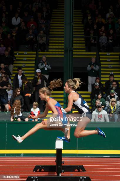 Allie Ostrander of Boise State University and Elinor Purrier of the University of New Hampshire lead the pack in the 3000 meter steeplechase during...