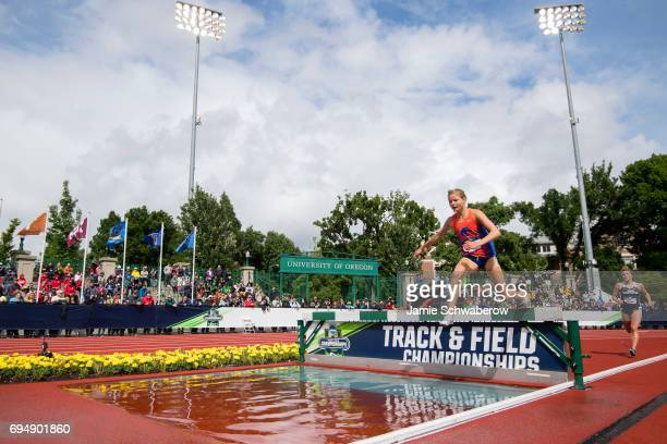 Allie Ostrander of Boise State University leads the pack in the 3000 meter steeplechase during the Division I Women's Outdoor Track Field...