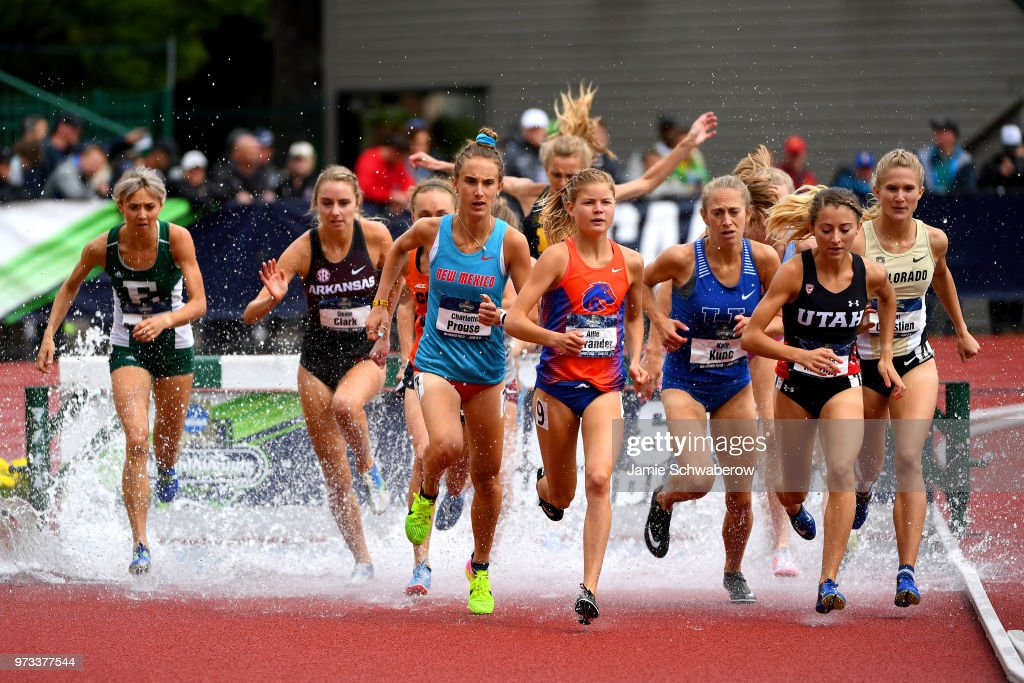 Allie Ostrander of the Boise State Broncos races to a first place finish in the 3000 meter steeplechase during the Division I Women's Outdoor Track & Field Championship held at Hayward Field on June 9, 2018 in Eugene, Oregon.
