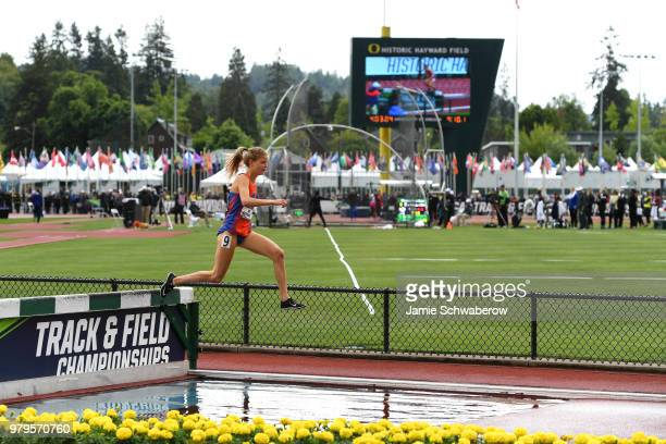 Allie Ostrander of the Boise State Broncos races to a first place finish in the 3000 meter steeplechase during the Division I Women's Outdoor Track...