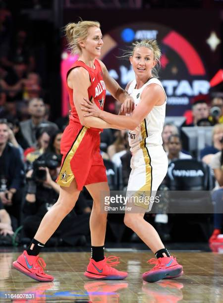 Allie Quigley of Team Wilson is guarded by Courtney Vandersloot of Team Delle Donne during the WNBA AllStar Game 2019 at the Mandalay Bay Events...