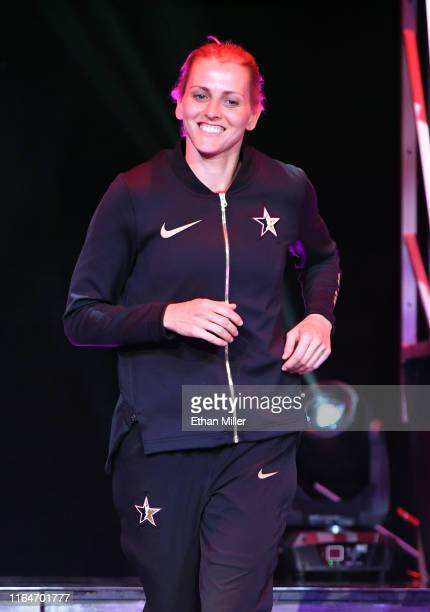 Allie Quigley of Team Wilson is introduced before the WNBA AllStar Game 2019 at the Mandalay Bay Events Center on July 27 2019 in Las Vegas Nevada...
