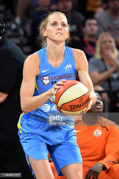 Allie Quigley of the Chicago Sky competes in the 3Point Contest during the Skills Challenge of the WNBA AllStar Friday Night at the Mandalay Bay...