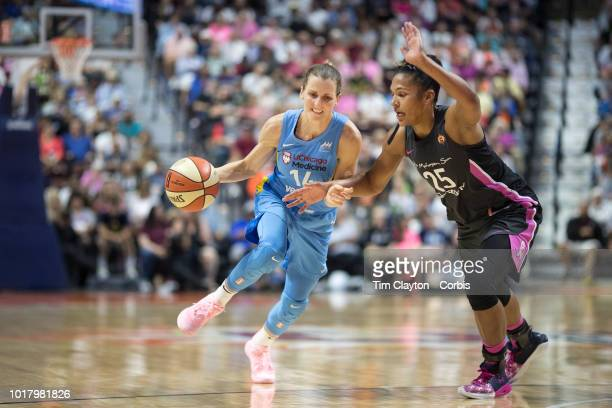 Allie Quigley of the Chicago Sky defended by Alyssa Thomas of the Connecticut Sun during the Connecticut Sun Vs Chicago Sky WNBA regular season game...