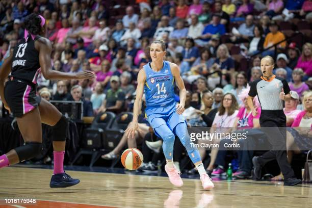 Allie Quigley of the Chicago Sky defended by Chiney Ogwumike of the Connecticut Sun during the Connecticut Sun Vs Chicago Sky WNBA regular season...