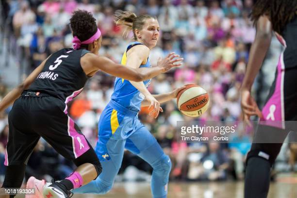 Allie Quigley of the Chicago Sky defended by Jasmine Thomas of the Connecticut Sun during the Connecticut Sun Vs Chicago Sky WNBA regular season game...