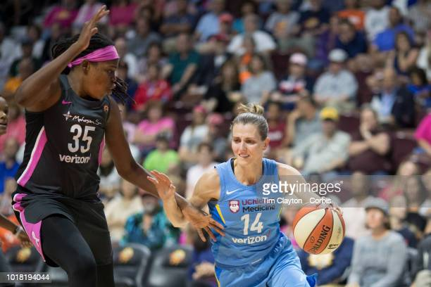 Allie Quigley of the Chicago Sky defended by Jonquel Jones of the Connecticut Sun during the Connecticut Sun Vs Chicago Sky WNBA regular season game...