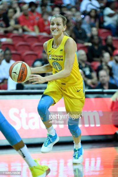 Allie Quigley of the Chicago Sky drives to the basket against the Las Vegas Aces on September 15 2019 at the Mandalay Bay Events Center in Las Vegas...