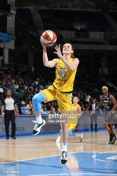 Allie Quigley of the Chicago Sky drives to the basket for shot against the Indiana Fever on July 21 2019 at the Wintrust Arena in Chicago Illinois...