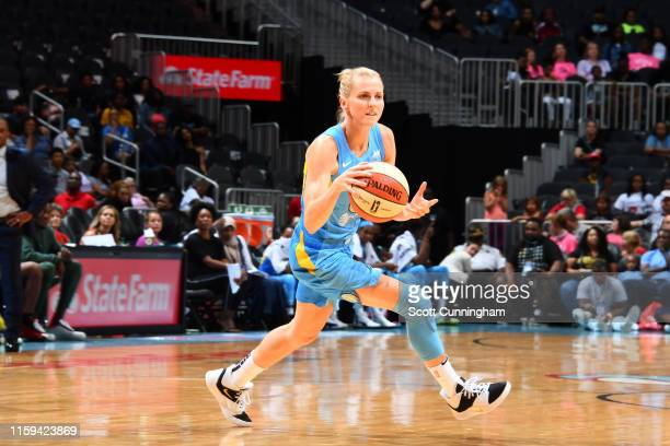 Allie Quigley of the Chicago Sky handles the ball against the Atlanta Dream on August 3 2019 at the State Farm Arena in Atlanta Georgia NOTE TO USER...