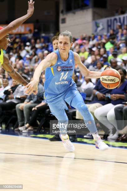 Allie Quigley of the Chicago Sky handles the ball against the Dallas Wings on July 31 2018 at College Park Center in Arlington Texas NOTE TO USER...