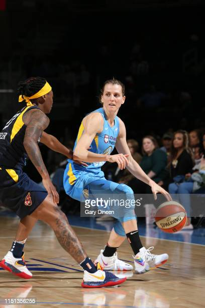 Allie Quigley of the Chicago Sky handles the ball against the Indiana Fever on June 21 2019 at the Wintrust Arena in Chicago Illinois NOTE TO USER...
