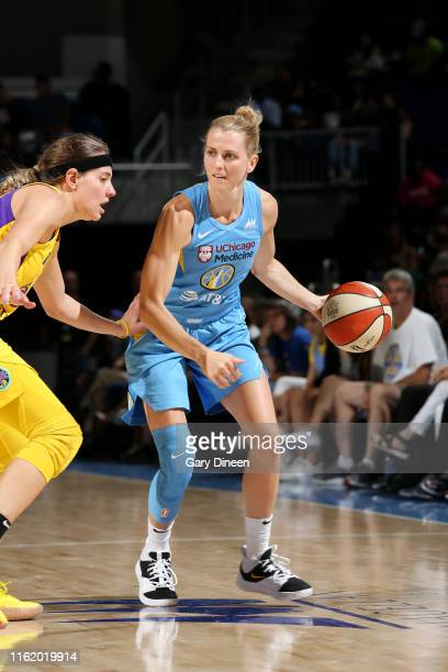 Allie Quigley of the Chicago Sky handles the ball against the Los Angeles Sparks on August 16 2019 at the Wintrust Arena in Chicago Illinois NOTE TO...