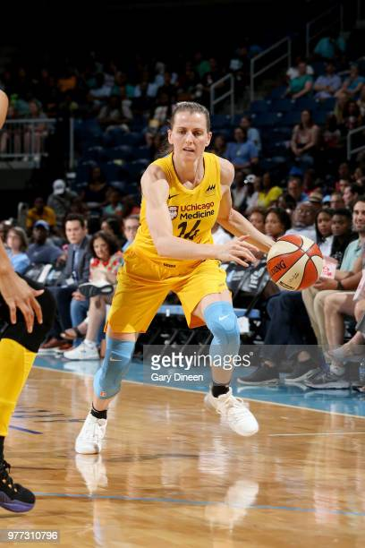 Allie Quigley of the Chicago Sky handles the ball against the Los Angeles Sparks on June 17 2018 at the Allstate Arena in Rosemont Illinois NOTE TO...