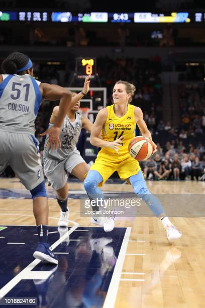 Allie Quigley of the Chicago Sky handles the ball against the Minnesota Lynx on August 14 2018 at Target Center in Minneapolis Minnesota NOTE TO USER...