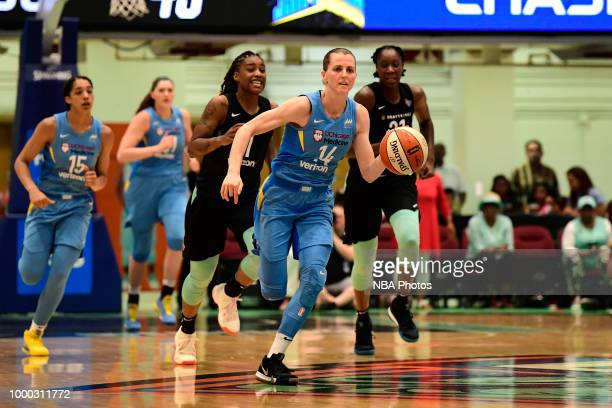 Allie Quigley of the Chicago Sky handles the ball against the New York Liberty on July 15 2018 at Westchester County Center in White Plains New York...
